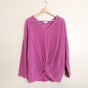 Umgee pink twist front long sleeve semi sheer top
